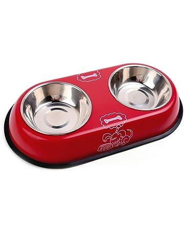 Chytaii Plato de Perro Comedero Doble Recipiente Acero Inoxidable para Perros y Gatos Paquete de 1