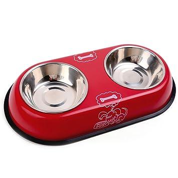 Chytaii Plato de Perro Comedero Doble Recipiente Acero Inoxidable para Perros y Gatos Paquete de 1 Rojo: Amazon.es: Hogar