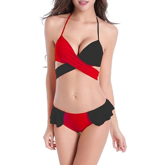 Bikini de moda Split traje de baño de dos colores trama de ...