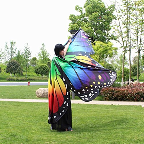 Gotd Large Egypt Belly Wings Dancing Costume Butterfly Wings Dance Accessories No Sticks (Multicolor) by Goodtrade8 (Image #3)