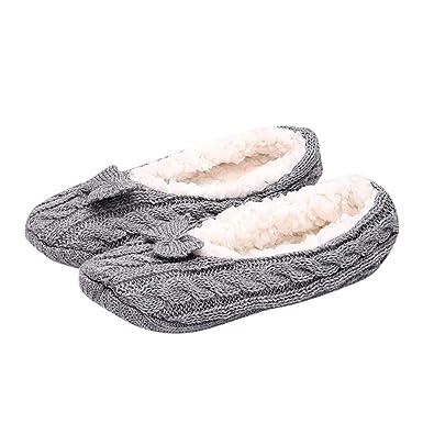 VJGOAL Mujer invierno moda casual color sólido Antideslizante Calcetines de piso Cálidos calcetines de lana Punto