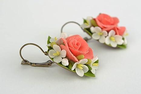 fecha de lanzamiento: 43d14 d3e3d Pendientes de porcelana fria artesanales con forma de flores ...