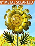 BRIGHT ZEAL 8″ Large METAL & GLASS Solar Sunflower Yard Art – Solar Garden Decorations LED Solar Garden Statue – Solar Lights Outdoor Decor Yard Decorations – Sunflower Lights Solar Garden Decor