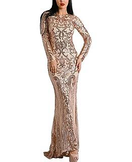 21f62e61ba8 Miss ord Sexy Bra Long Sleeve Retro Party Dress Sequin Maxi Dress at ...