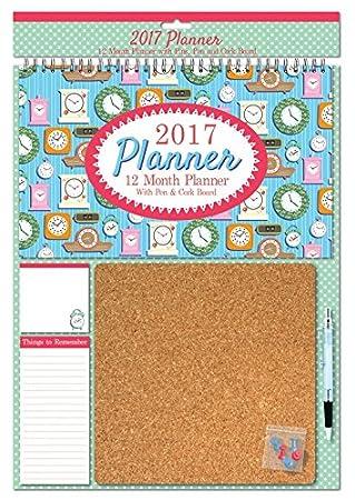 2017agenda Calendario con pizarra de corcho, Note Pads, Pen & pines, diseño de relojes