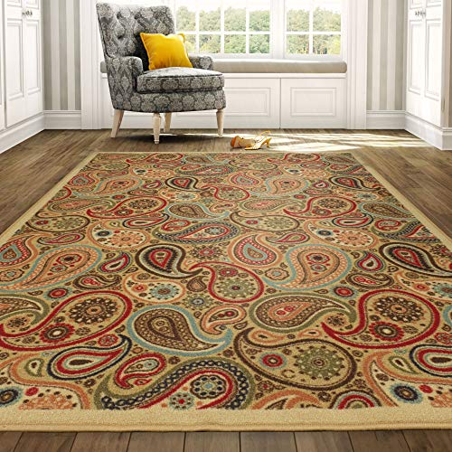 Sage 2'6 X 10' Runner - Ottomanson Ottohome Collection Contemporary Paisley Design Non-Skid (Non-Slip) Rubber Backing Modern Area Rug, 8'2
