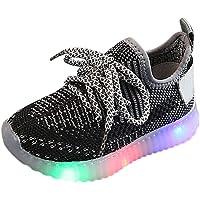 YWLINK Fondo Blando Antideslizante Zapatos para NiñOs Led Volando Tejidas Luces Luces Zapatillas Luminosas Ligeras…