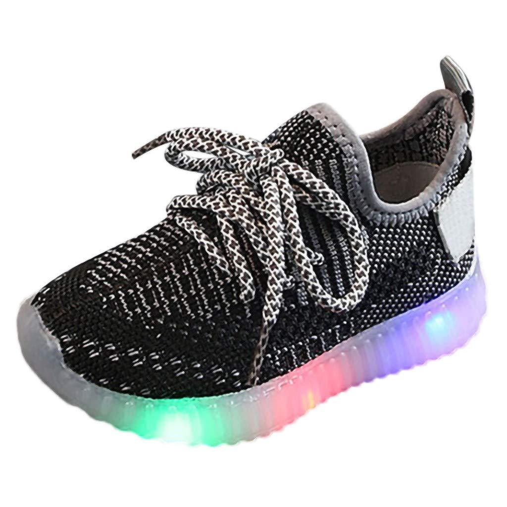 WHSHINE Jungen M/ädchen LED Licht Weich Fliegendes Weben Freizeit Turnschuhe Sneakers Kinder Mesh Atmungsaktiv Wanderschuhe Laufschuhe Sportshoes