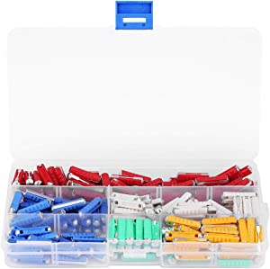 200pcs 24×5.8mm Multicolor Torpedo Shaped Car Fuses Assortment Kit Amp 5A, 8A, 10A, 16A, 25A, for European Old Style Cars