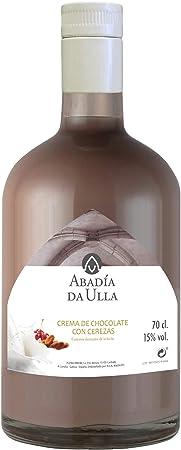 Licor Chocolate con Cerezas de Orujo Gallego casero. Aguardiente de Galicia ABADIA DA ULLA 70cl