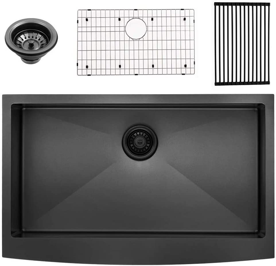 Bokaiya 33 Farmhouse Apron Sink Black 16 Gauge 10 Inch Deep Single Bowl Stainless Steel Kitchen Sink, Matte Black