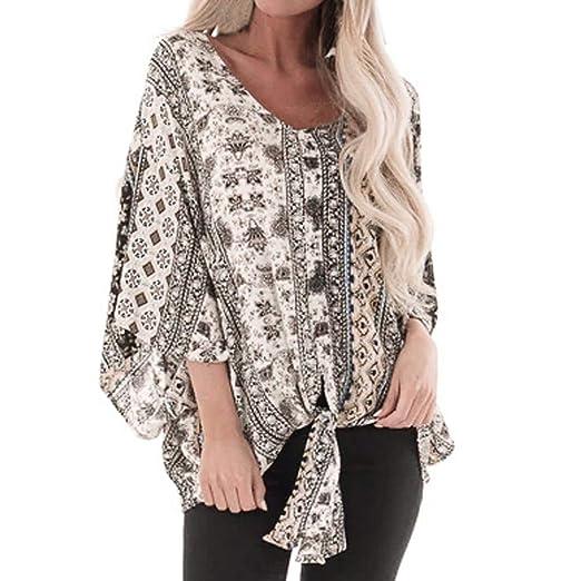 b47e707f1faf73 iZHH Fashion Womens Shirt O-Neck Retro Print Chiffon Top Ladies Loose Long  Sleeve Top