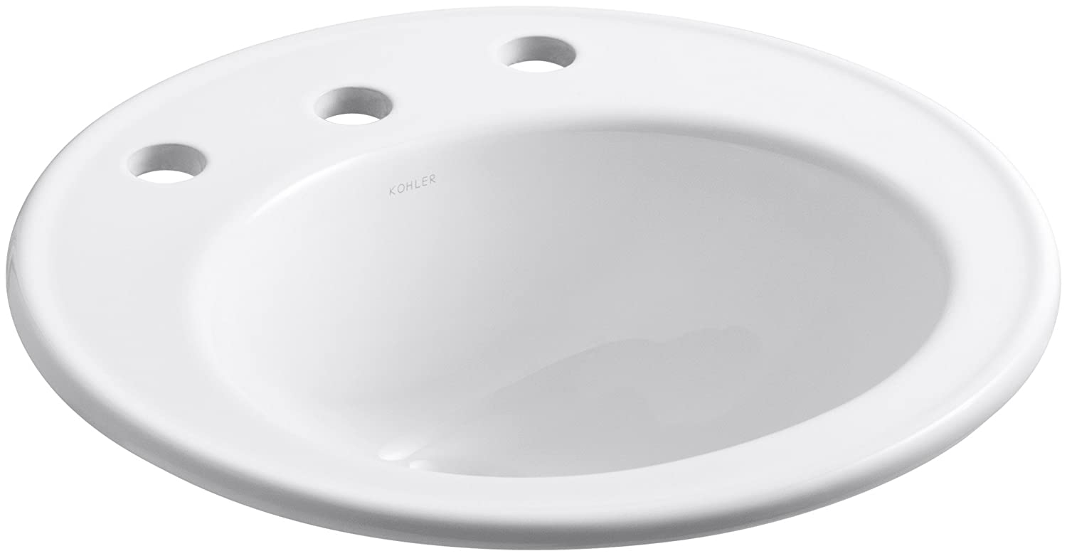 KOHLER K-2202-8-0 Brookline Self-Rimming Bathroom Sink, White