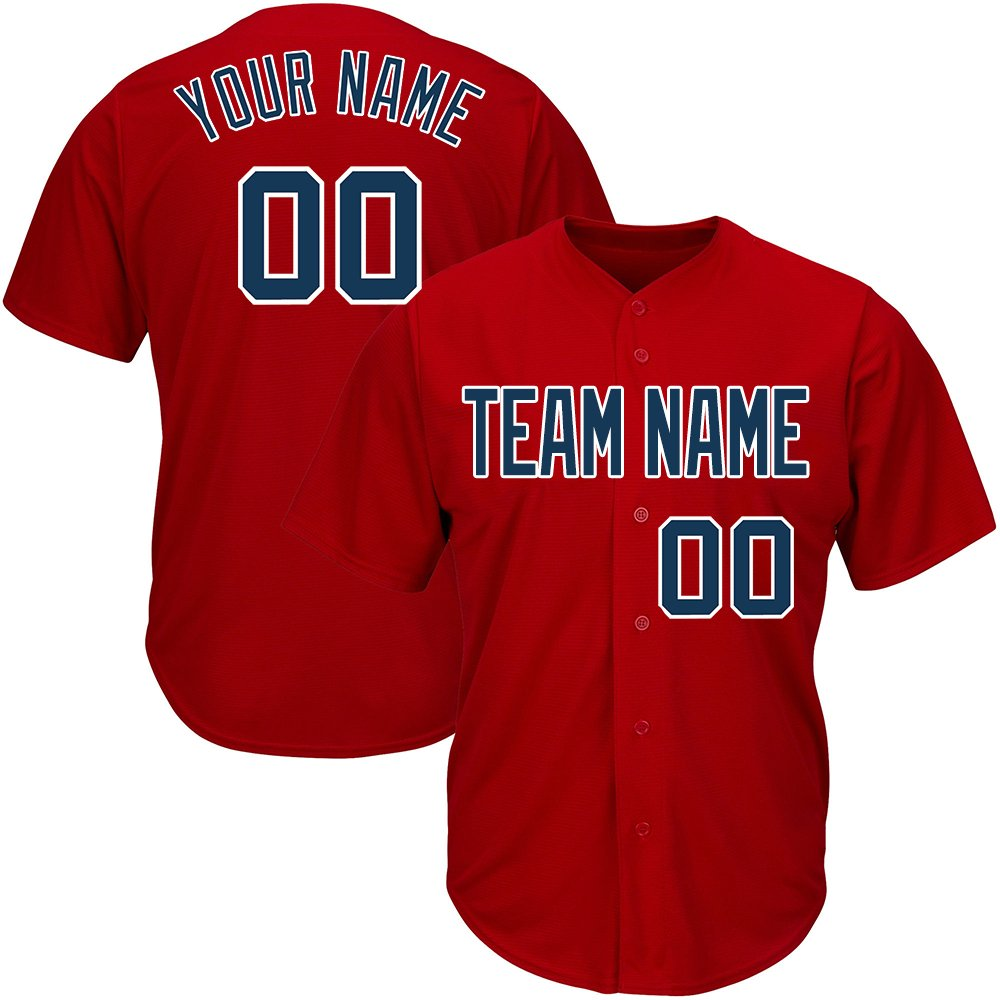 Custom Men's Red Mesh Baseball Jerseys with Embroidered Team Name Player Name and Numbers,Navy-White Size XL by DEHUI