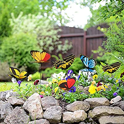 ssgthbfhf - 50 Mariposas Coloridas para jardín, Adorno de Patio en Palos para decoración de jardín al Aire Libre: Amazon.es: Jardín