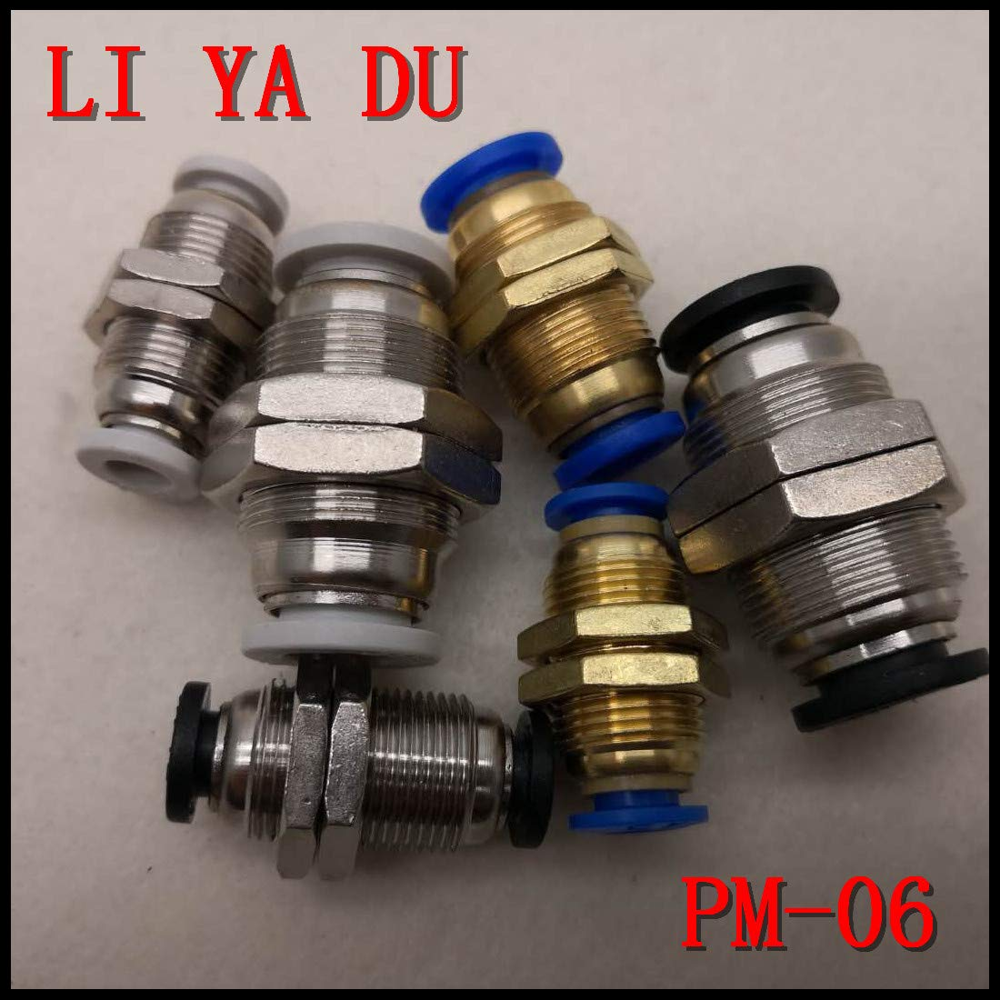 Color: White Fevas 10pcs//lot PM-06 Pneumatic Fittings PM Bulkhead Quick Connector tracheal Quick Connector Bulkhead Straight PM6