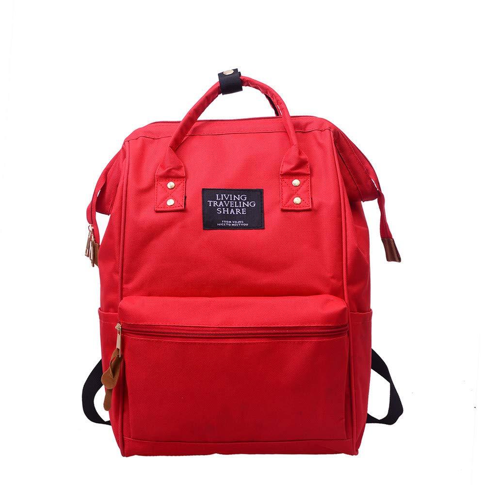 LLguz 無地 男女兼用 バックパック 通学用トラベルバッグ ダブルショルダーバッグ ファスナー付きバッグ [米国から直接発送] B07JR8DQTG レッド