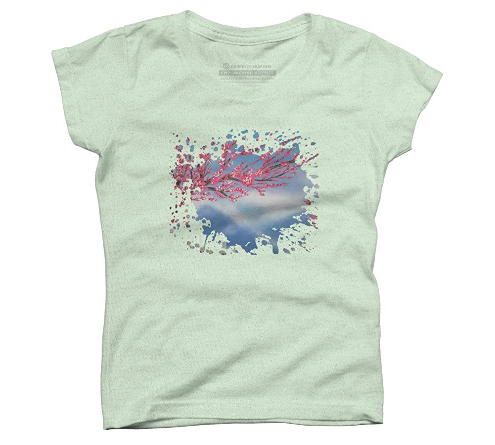 Design By Humans Cherry Blossom Girls Youth Graphic T Shirt