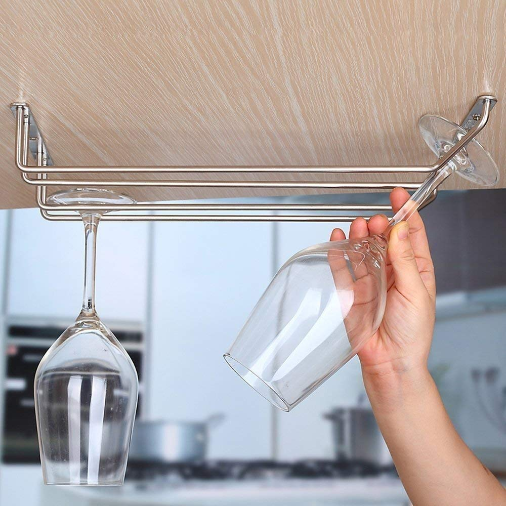 Velidy Velidy Wine Glass Rack,Stainless Steel Chrome Finish Under Cabinet Hanging Stemware Holder with Screw For Kitchen/Bar / Restaurant (10.6'/27cm) by Velidy (Image #5)