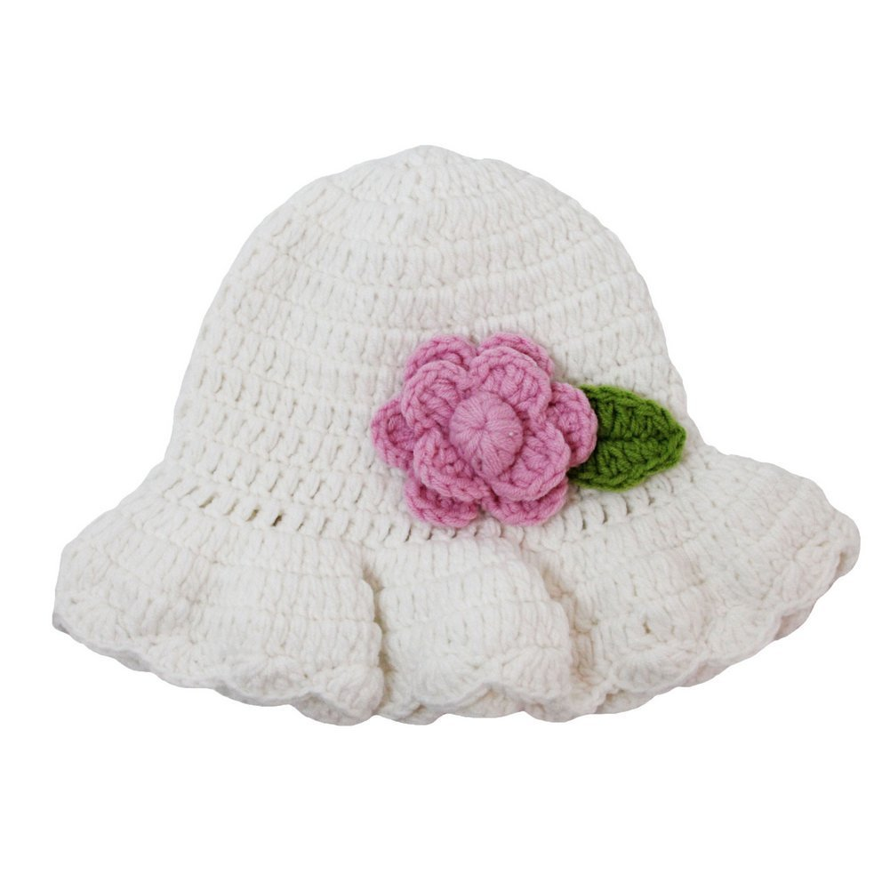 Dress Up Dreams Boutique Baby Girls White Pink Flower Crochet Bucket Cap 0-12M