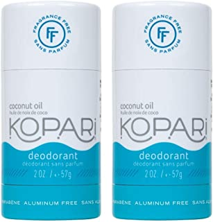 product image for Kopari Aluminum-Free Deodorant Fragrance Free for Sensitive Skin | Non-Toxic, Paraben Free, Gluten Free & Cruelty Free Men's and Women's Deodorant | Made with Organic Coconut Oil | 2 Pack, 2.0 oz