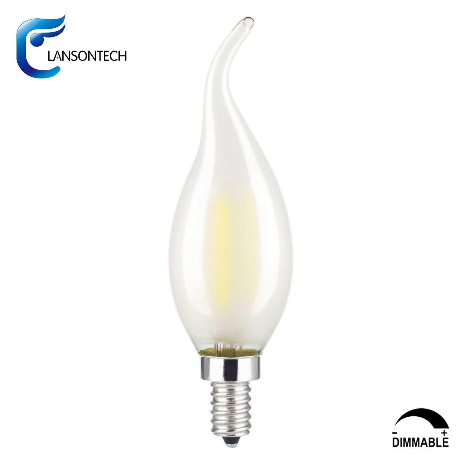 Lansontech 6 Watt Frosted Led Filament Candelabra Light Bulb Dimmable Warm White 2700k 60 Incandescent Replacement 600 Lumens E12 Base