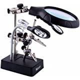 Neon 2.5X 7.5X 10X LED Light Magnifier & Desk Lamp Helping Hand Repair Clamp Alligator Auxiliary Clip Stand Desktop Magnifying Glasses