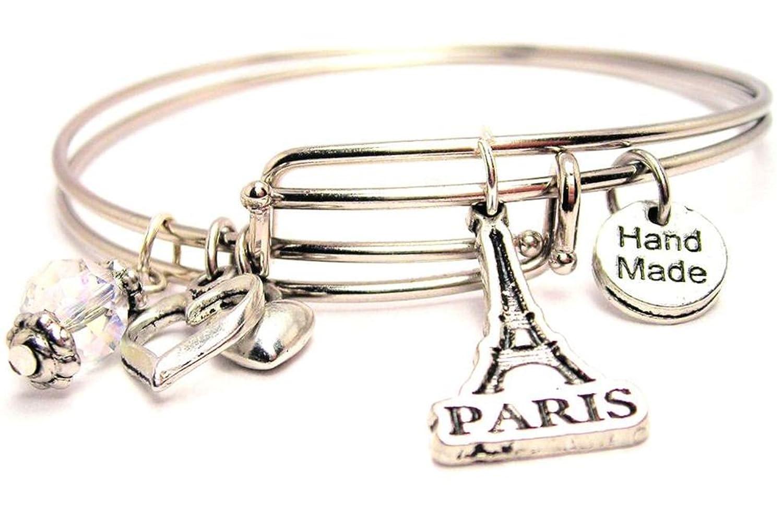 Amazon: Paris With Eiffel Tower Adjustable Wire Bangle Charm Bracelet:  Paris Jewelry: Jewelry