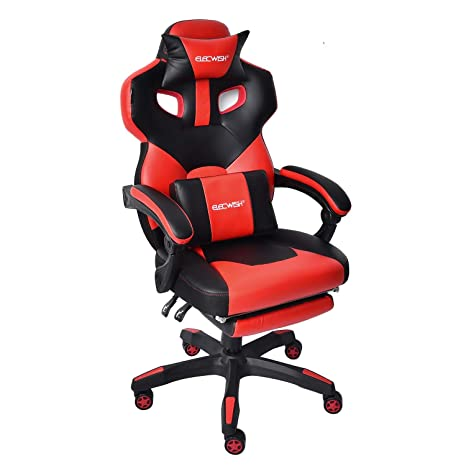 Fabulous Racing Gaming Office Desk Chair Ergonomic Pu Leather Swivel Reclining Chair High Back Executive E Sports Computer Pc Video Game Chair With Footrest Squirreltailoven Fun Painted Chair Ideas Images Squirreltailovenorg