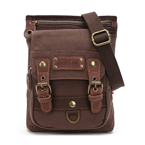 79d9174625 Small Canvas Vintage Shoulder Bag Multi-Pockets Crossbody Business Messenger  Bags Sling Shoulder Backpack Travel