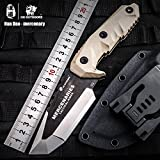 HX outdoors fixed blade knife with sheath,Special forces Tactical knife,tanto knife,Army survival knife,G10 Handle 8.8-Inch Overal (Mercenaries)
