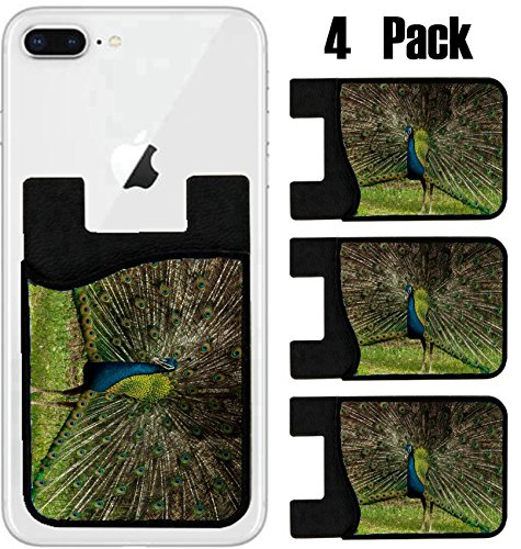MSD Phone Card holder sleeve wallet for iPhone Samsung Android and all smartphones with removable microfiber screen cleaner Silicone card Caddy(4 Pack) IMAGE ID 19621836 green beautiful (136 Peacock)