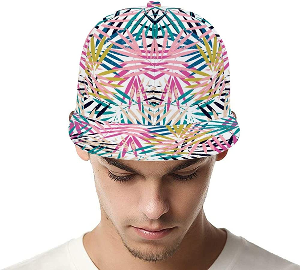 Dongi Colored Palm Leaves Stacked Together Unisex Full-Print Flat Rubber Ball Cap can Adjust Hip-hop Style