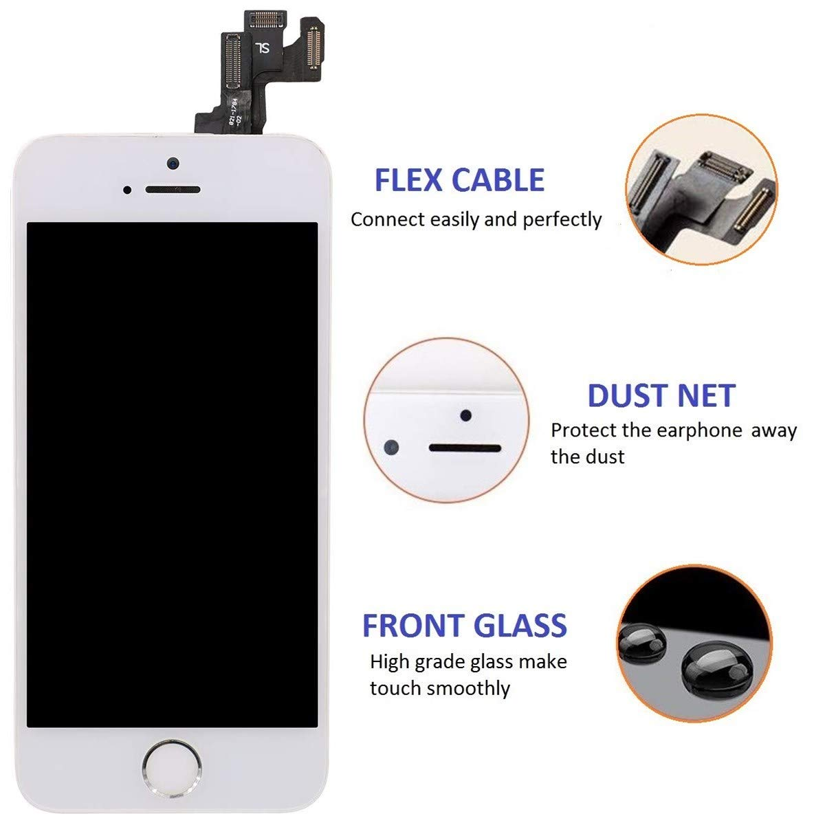 Blanco Sensor de proximidad Altavoz ensamblaje de Marco digitalizador y Kit de reparaci/ón 5.5 Pantalla T/áctil LCD con bot/ón de Inicio,C/ámara Frontal Brinonac Pantalla para iPhone 6 Plus