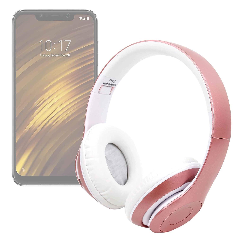 DURAGADGET Auriculares Plegables inalámbricos en Color Rosa para Smartphone Xiaomi Mi 8 Lite, Xiaomi Mi 8 Pro, Xiaomi Pocophone F1: Amazon.es: Electrónica