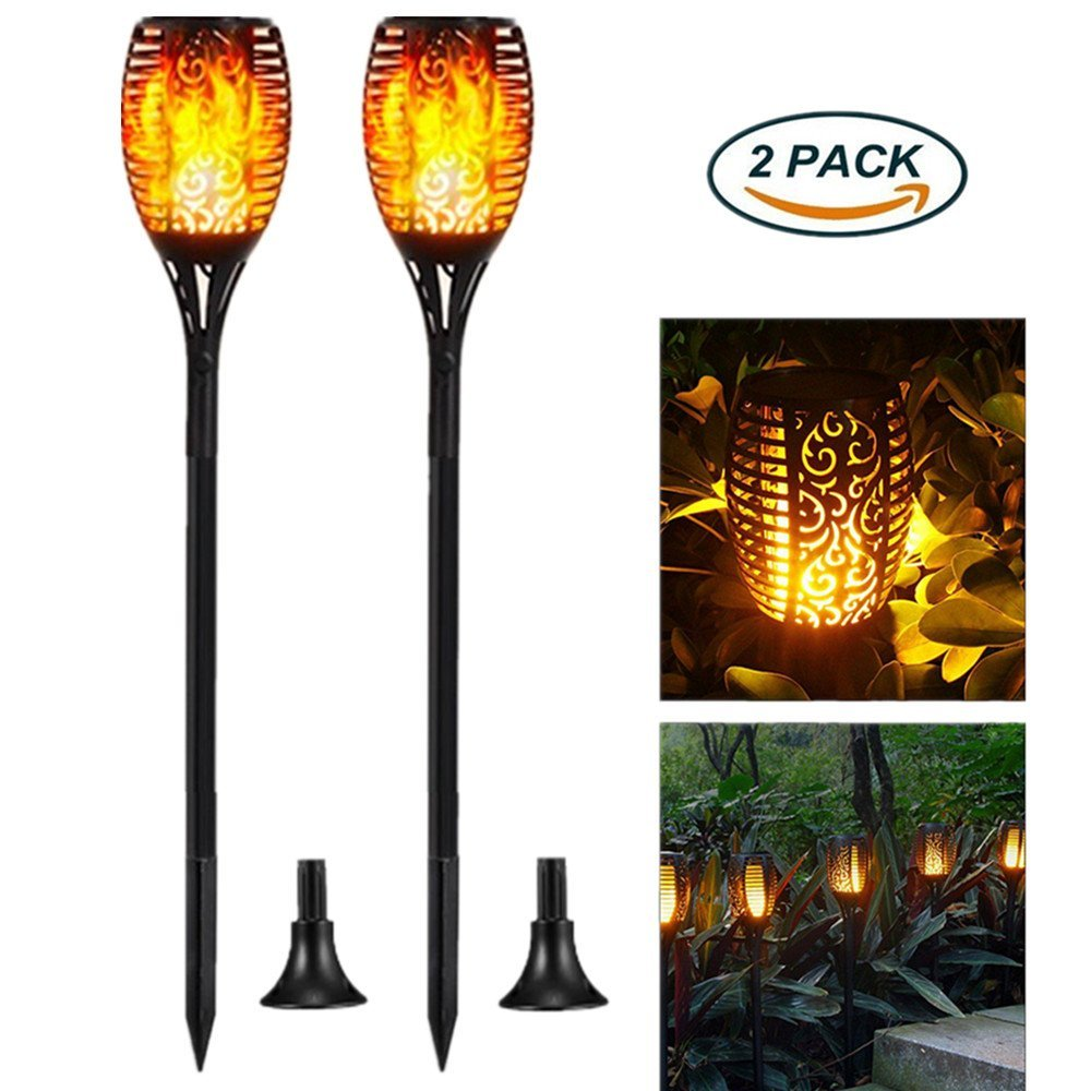 Solar Light, Solar Flame Landscape Light, 96LED Flashing Flashlight, IP65 Waterproof Outdoor Landscape Decoration,Three light patterns (flame/bright/breathing) Automatic Light Control On/Off (2 Pack)