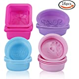 KLEMOO Silicone Soap Molds, Non-stick Soap Making Supplies, 16-Pack Silicone Molds for Soap Making & Baking, Cupcake Liners Muffin Pan, Make Your Own Handmade Soap