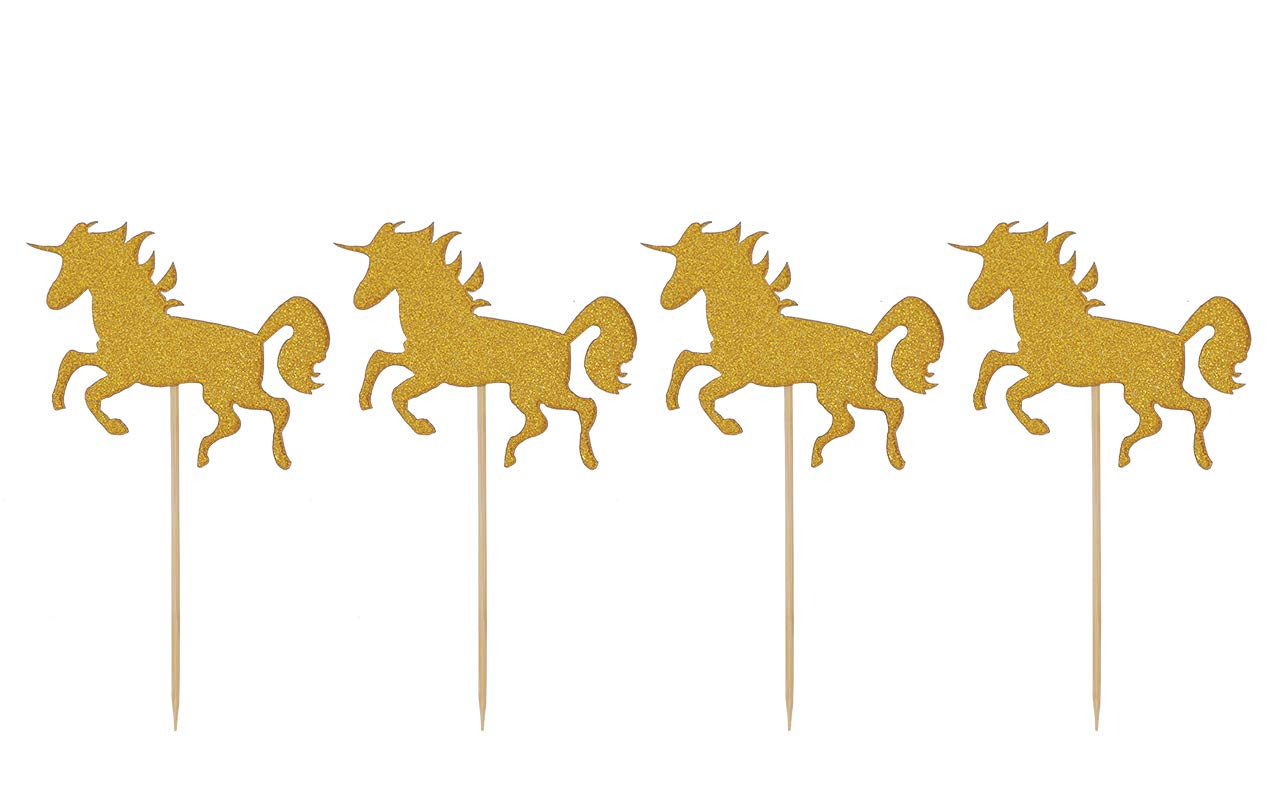 24 Pack Unicorn Cupcake Toppers Gold Glitter Cake Toppers Food Picks Decorations for Baby Shower Kid's Birthday Party Decoration by Topfun (Gold)