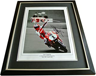Sportagraphs CARL FOGARTY SIGNED FRAMED Huge Photo Autograph Display Superbikes PROOF & COA