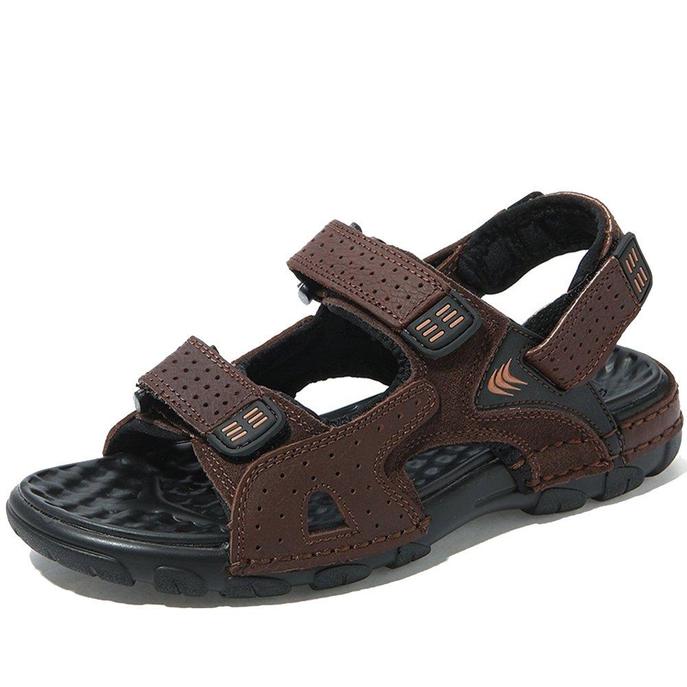 Agowoo Men's Hook and Loop Leather Walking Beach Sandals