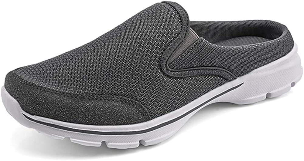 MizHome Men's Open Back Sneaker Clogs Knit Mules Shoes Lightweight Breathable Slippers