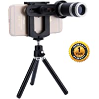 Raptas® Universal 8X Zoom Mobile Phone Telescope Lens with Tripod and Adjustable Holder Compatible with Xiaomi Mi, Apple, Samsung, Sony, Lenovo, Oppo, Vivo Smartphones (1 Year Warranty)