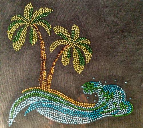 Palm Tree in the sea Rhinestone Transfer Iron On Hot Fix Motif Bling Applique - DIY