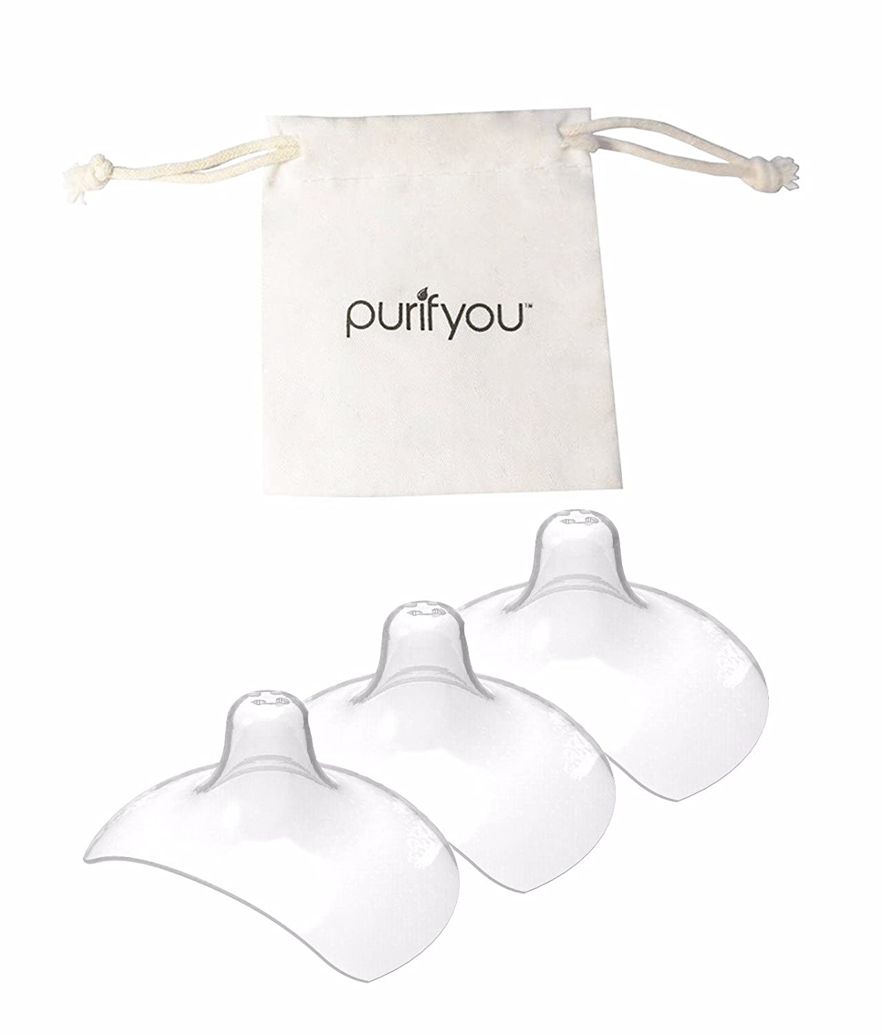 purifyou Premium Nipple Shield, 20mm / 24mm Set of 3 with Free Cotton Drawstring Bag