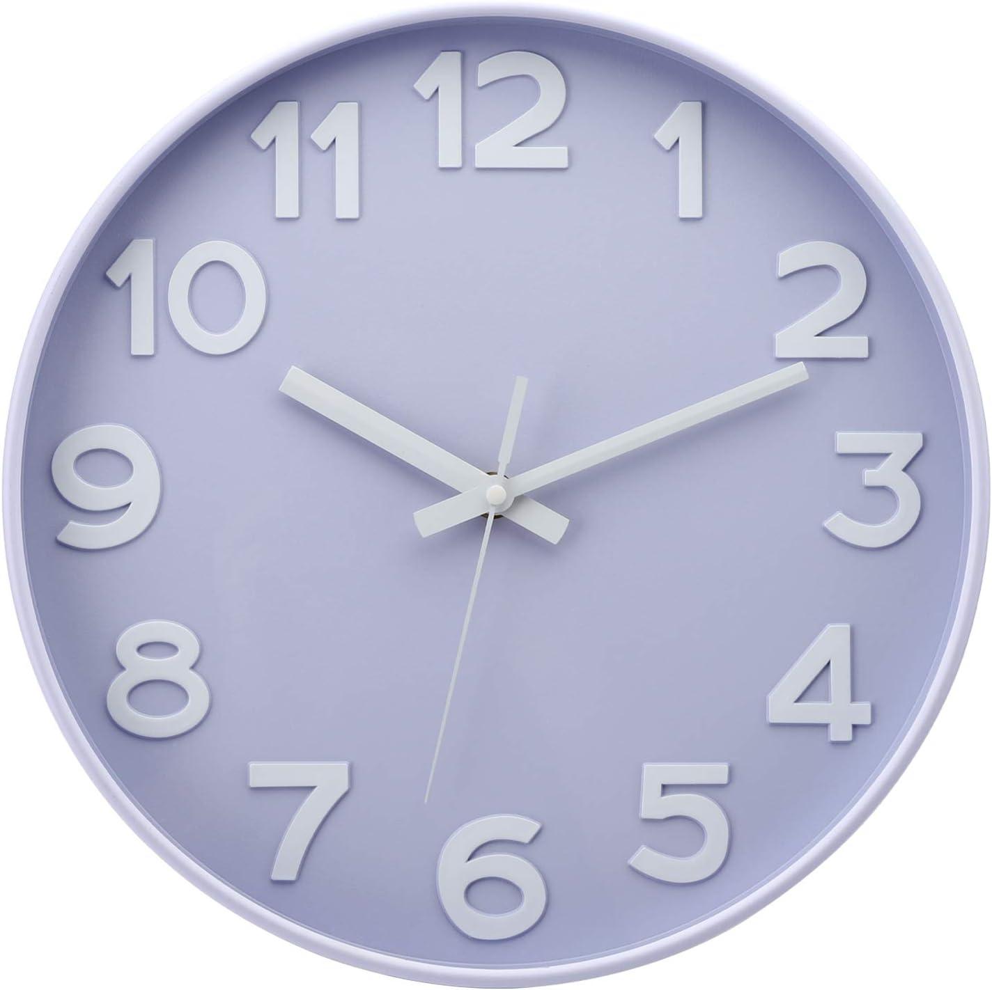 TOPZEA Silent Wall Clock 12 Inch, 3D Modern Non-Ticking Decorative Battery Operated Quartz Clock for Living Room, Bedroom, Kitchen, Office, Classroom, Nursery Room Creative Decoration, Light Purple