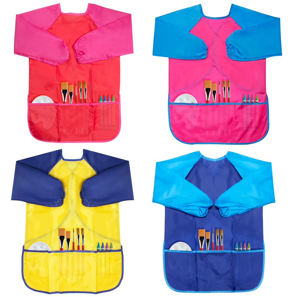 Chanaco 4 Pack Kids Art Smocks, Children Waterproof Artist Painting Aprons Long Sleeve with 3 Pockets for Age 2-6 Years, 2 Colors (4 Pack (4 Colors))