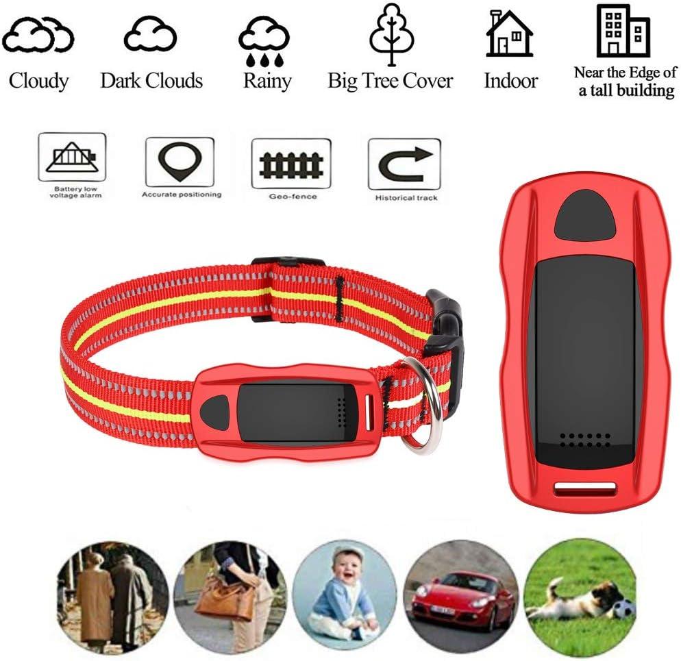 Hangang Rastreador GPS para Perros y Gatos,Último Modelo Localizador GPS Resistente al Agua se Ajusta al Collar para Perros con Seguimiento de Actividad. (Rojo)