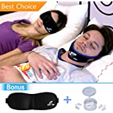 PREMIUM Stop Snore Solution: Adjustable Anti Snoring Chin Strap Device + 4 Nose Vents Aid to Easy Breathing + 3D Contoured Sleep Mask - For a Silent Sleep and Restful Night
