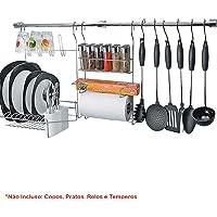 Suporte para Utensílios Cook Home 18 com 23 Peças em Aço Cromado Escorredor Rolo Temperos Arthi 1418