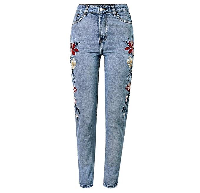 ARRILR.H Super Popular inglés Bordado Jeans Mujer Cintura ...